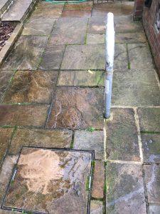 garden services - before pressure washing